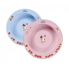 Глубокая тарелка Philips Avent 230 мл 6м+ голубая и розовая
