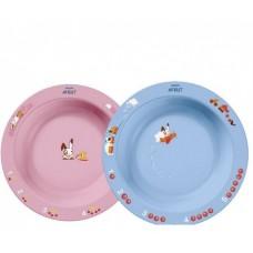 Глубокая тарелка Philips Avent 450мл 12м+ голубая и розовая